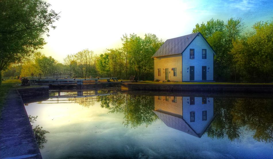 Rideau Canal. Reflection Water Architecture Building Exterior Sunset Tree No People Lake Built Structure Sky Waterfront Nature Outdoors Pavilion Beauty In Nature Day Fresh On Eyeem