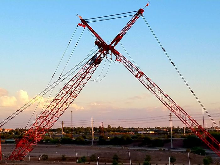 Cranes at rest. Construction Heavy Equipment Building Site