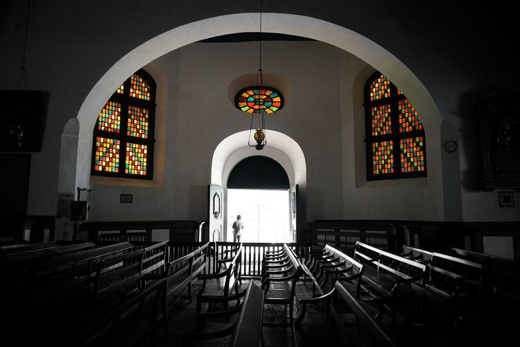 Indoors  Built Structure Religion Spirituality Place Of Worship Seat Arch Architecture Belief Pew No People Window Glass Building Cross Absence Stained Glass Altar