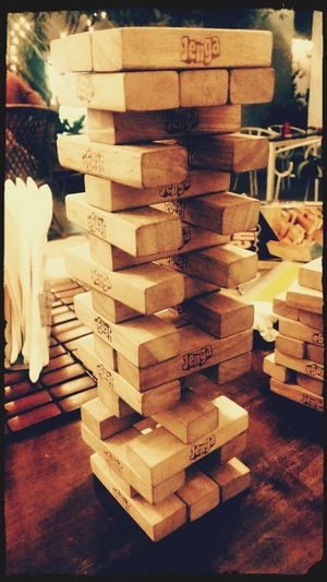 Jenga Game Jengatime Jengatower Indoor Sport Family❤ Cafe Lights And Shadows