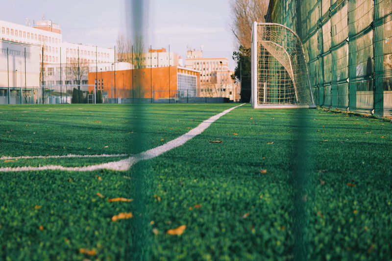 Urban Urban Scene Lifestyles Urban Life Urban Lifestyle Street Sport Urban Photography Soccer Field City Soccer Grass Architecture Built Structure Sky Building Exterior Track And Field Stadium Goal Post Green Color Blade Of Grass My Best Photo