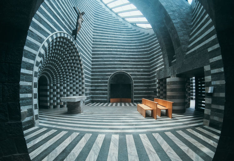 Absence Arch Architectural Column Architecture Bench Building Built Structure Day Indoors  Nature No People Pattern Place Of Worship Rear View Religion San Giovanni Battista Seat Staircase Sunlight