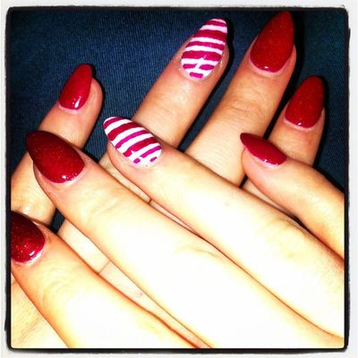 Nails Christmas Candystripe Sparkly pretty