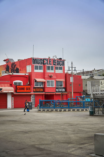 Muscle beach early in the morning Incidental People Building Exterior Architecture Built Structure Red Day City One Person Real People Muscle Beach Venice Beach