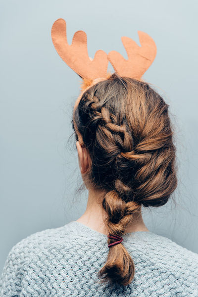 Disguise Fancy Mask - Disguise Christmas Moose Reindeer Wood Antler Christmas Decoration Close-up Day Girl Hairstyle Headshot Indoors  Lifestyles Model One Person People Real People Rear View Reindeer Antlers Teenager Women Young Women