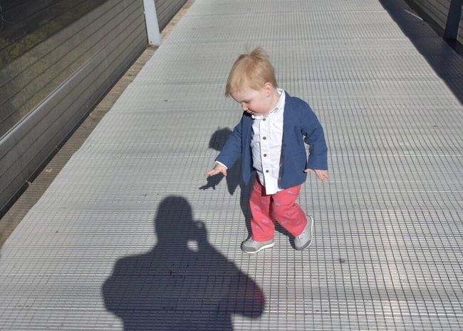 Chasing Shadows Childhood Full Length Child Sunlight Shadow Innocence Outdoors Day Blond Hair People Baby One Person Real People Babies Only EyeEm Gallery EyeEm Best Shots Millennium Park Getty Images Chicago The City Light