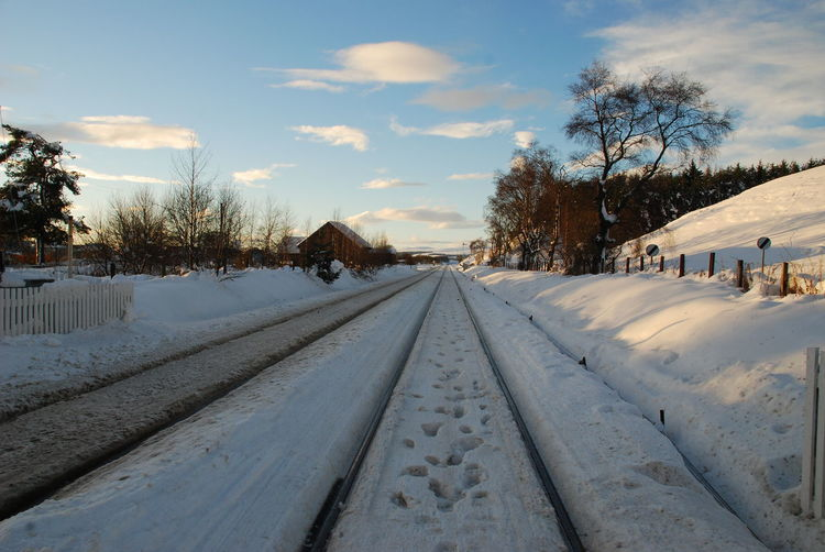 Railway Lines In Snow Wintertime Bare Tree Beauty In Nature Blue Skys Cloud - Sky Cold Temperature Day Nature No People Outdoors Scenics Sky Snow Snow On Ground The Way Forward Tree Trees And Sky White Color Winter