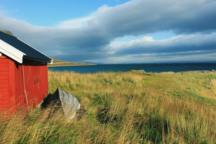 Nothern Norway - silence First Eyeem Photo Norway Holiday Porsangerfjorden The Great Outdoors - 2017 EyeEm Awards Outdoors Colours Grass Clear Sky Rural Scene Day No People Landscape Tranquility Field Scenics Beauty In Nature Water Nature Agriculture Straw Fishing Boat Boathouse Tranquil Scene