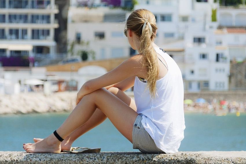 Contemplativa #sea #woman #teen #blonde Full Length Sitting Water Blond Hair City Women Summer Sky Sandal Human Knee Human Joint