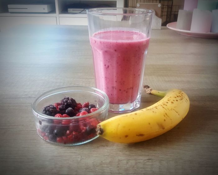 Health Jummy Forest Fruits Rasberries Blackberries Redcurrant Fruit Drinking Glass Drink Smoothie Food And Drink Banana Healthy Eating No People Close-up Refreshment Cold Temperature