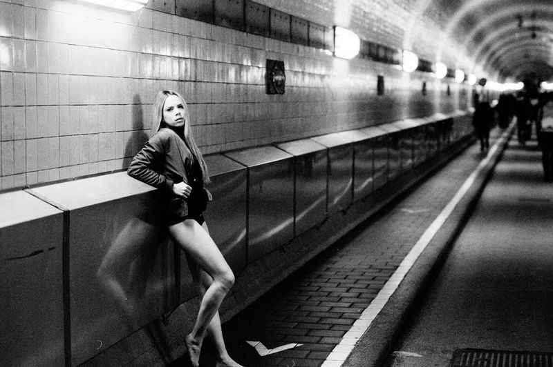 Adult Adults Only Analogue Photography Available Light Blackandwhite Day Elbtunnel Illuminated Indoors  One Person People Real People Sensual_woman Tube Women