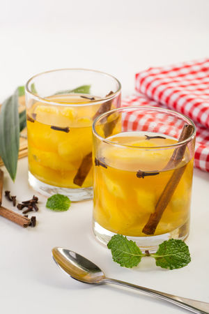 Pineaple Infused Water / Setup Nanas Beverage Cinnamon Culinary Drink Fresh Freshness Freshness Healthy Healthy Drinks Healthy Eating Infusedwater Kuliner No People Pineaple  Serving Size White Background