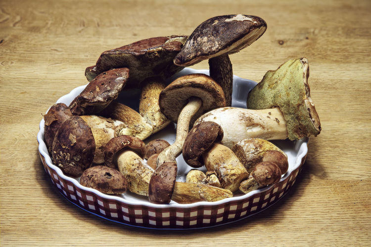 High angle view of mushrooms in plate on table
