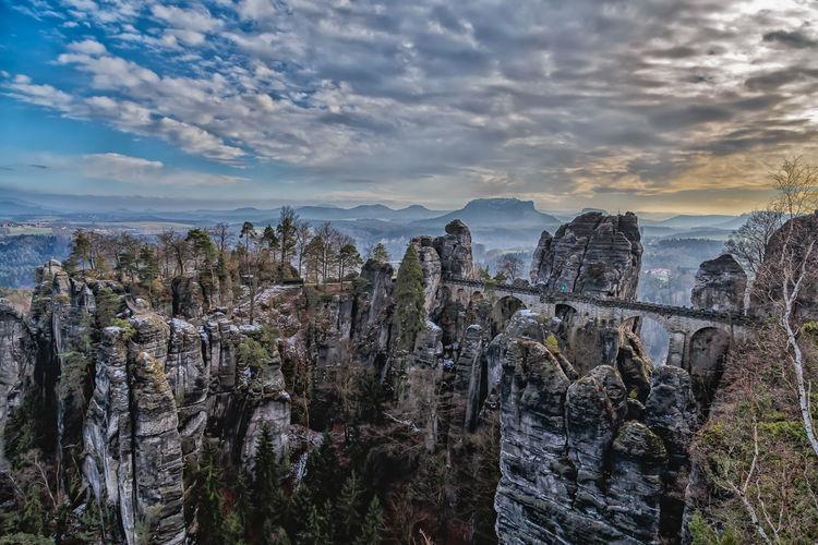 Bastei Rocks Landscape Dramatic Sky