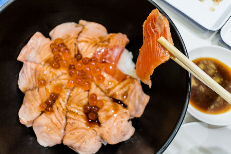 High angle view of sashimi in bowl