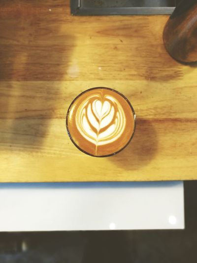 A latte art Day No People Close-up Wood - Material Indoors  Cappuccino Froth Art Latte Frothy Drink Drink Table V60 Hario