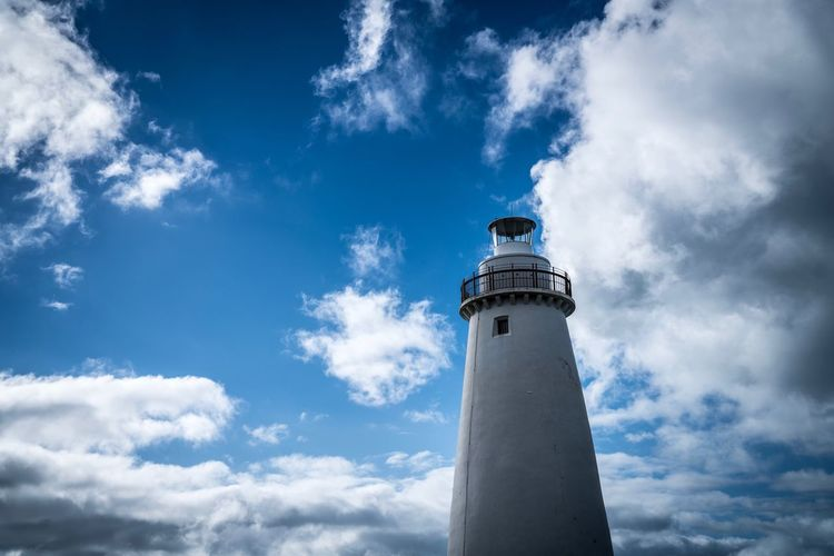Cloud - Sky Sky Lighthouse Guidance Low Angle View Day Building Exterior Architecture Built Structure Outdoors Blue No People Nature