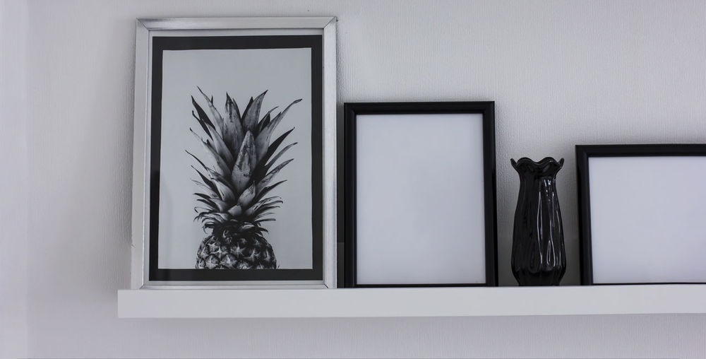 Clean frames for text, details of the modern interior Architecture Arrangement Art And Craft Close-up Day Decoration Frame Glass - Material Growth Home Interior Houseplant Indoors  Nature No People Picture Frame Plant Potted Plant Shelf Wall - Building Feature White Color Window
