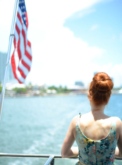 Boat Casual Clothing Fashion Fashion Hair Fashion Photography Fashionblogger Fashionphotography Feel The Journey Focus On Foreground Lifestyles Red Hair Redhair RedHAIR ❤ Redhead Sailing Sailing Ship Sky Stars And Stripes Flag Vacations Water