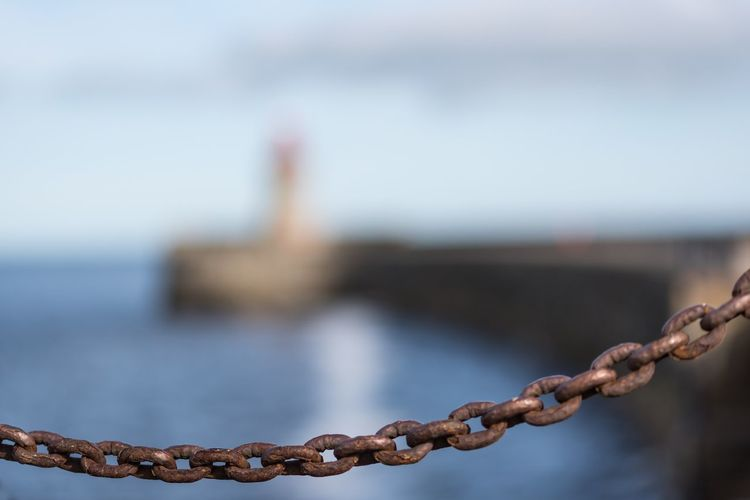 South Shields pier Nikon Nikonphotography EyeEm Gallery EyeEm Masterclass Focus On Foreground Water Day Close-up Metal No People Nature Boundary Old Safety Architecture Built Structure Connection Outdoors Sea Strength Sky Chain Rusty