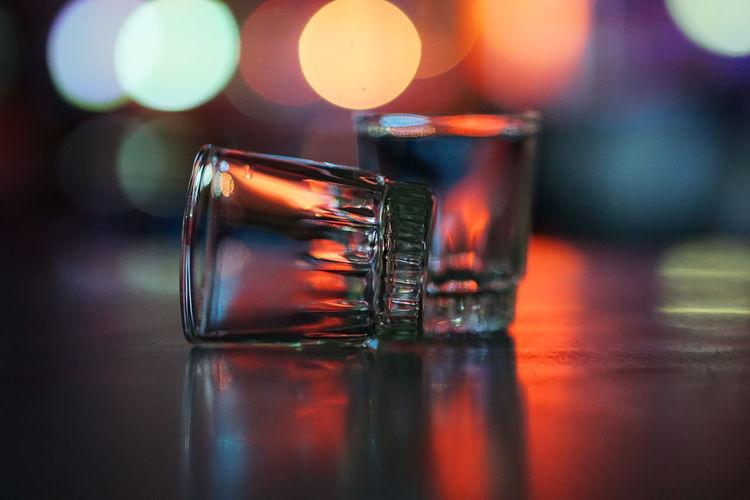 Shot glasses on table in bar