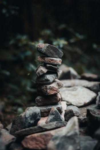 Close-up of stone balance stack on rock