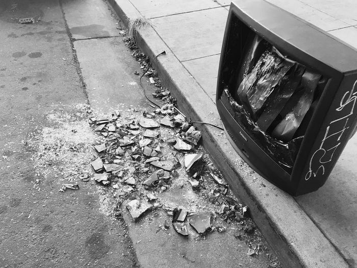 Television Broken Glass Sidewalk Destruction Broken Street