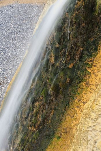 Close-up of waterfall against mountain