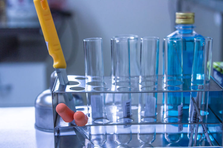 Blue Chemistry Close-up Container Focus On Foreground Glass Glass - Material Healthcare And Medicine Indoors  Laboratory Medical Equipment Medicine No People Research Science Scientific Experiment Still Life Table Transparent