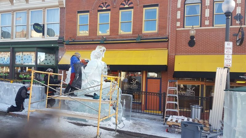 Ice Jousting Arts Culture And Entertainment Ice Sculpture Cripple Creek Festival Working Men Full Length City Hardhat  Entertainment