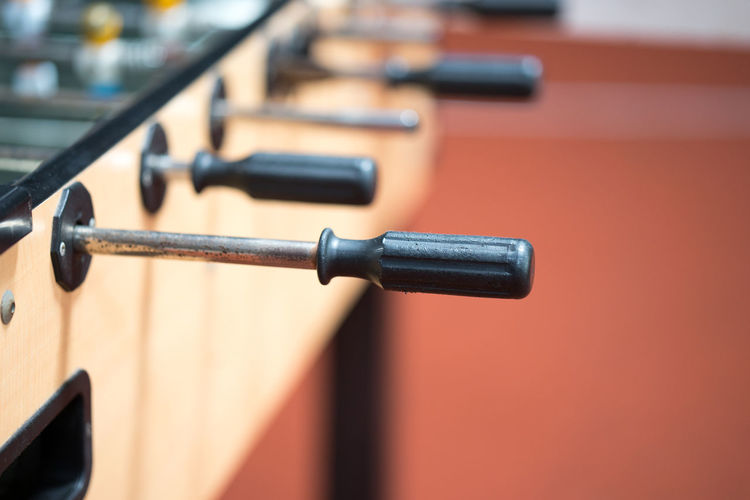 Close-up of foosball handle