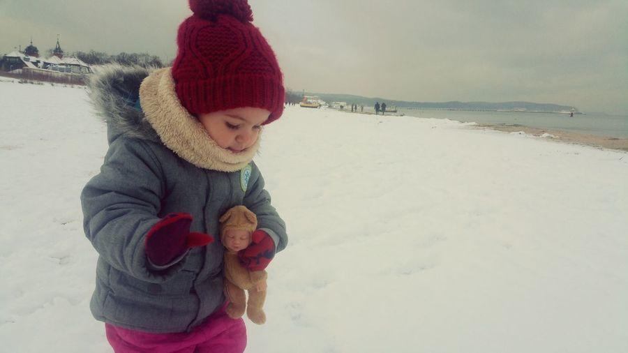 Kids Baby Child Winter Sea Redhat Winter Warm Clothing Snow Joy Children Only Cold Temperature Childhood First Eyeem Photo