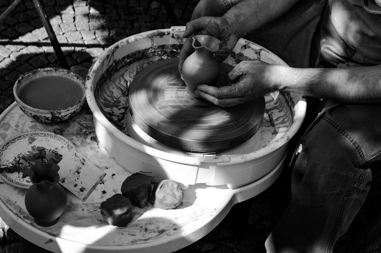 Blackandwhite Blackandwhite Photography Monochrome Photography Monochrome Lifestyles Streetphotography Street Light And Shadow Handmade Pottery Making Art Arts Culture And Entertainment Art Creativity Personal Perspective Capture The Moment Adult Adults Only People Crafts Craftsman The Week On EyeEm Be. Ready. Inner Power The Street Photographer - 2018 EyeEm Awards Creative Space