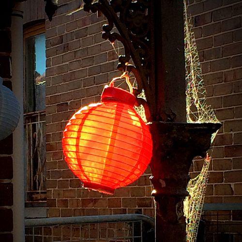 Red lantern light by the sun