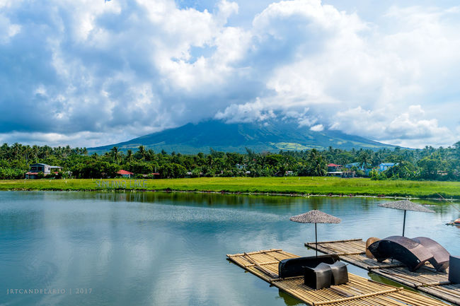 Beauty In Nature Cloud - Sky Day Lake Mayon Volcano Philippines Mountain Mountain Range Nature No People Outdoors Scenics Sky Sumlang Lake Tranquil Scene Tranquility Tree Water Waterfront