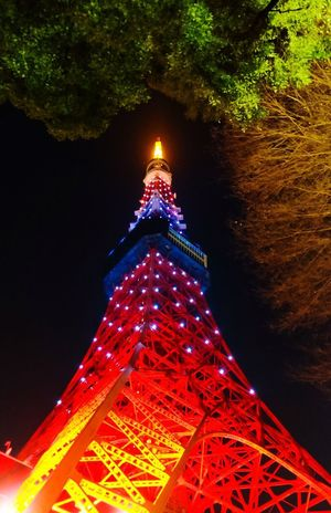 Tokyo tower at night Night Illuminated Low Angle View Architecture Built Structure Tokyo,Japan Tokyo Tokyo Tower Building Exterior Travel Destinations Sky City
