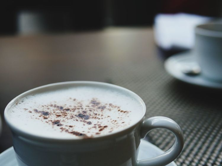 Morning caffe Hotel Breakfast Drink Refreshment Coffee Mug Coffee - Drink Food And Drink Cup Saucer No People Crockery Cappuccino Freshness Focus On Foreground Hot Drink Still Life Indoors  Coffee Cup Close-up Table Frothy Drink