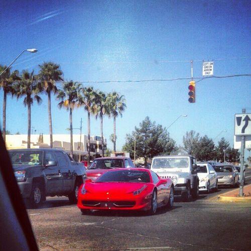 Ferrari Red Sportscar Fast Morningtraffic Low Tucson Udall Streetlights