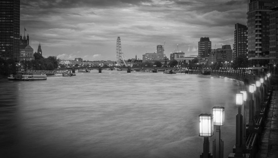 London lights and the Thames Architecture City Building Exterior Built Structure Cityscape Urban Skyline Water Sky Travel Destinations No People Black And White Blackandwhite London City Life LONDON❤ City Lights Long Exposure Street Light The Thames London Eye