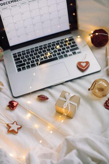 High angle view of christmas ornaments on table