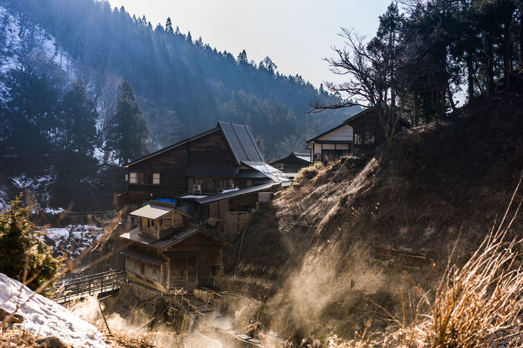 Wooden Houses Against Tree Mountain During Winter