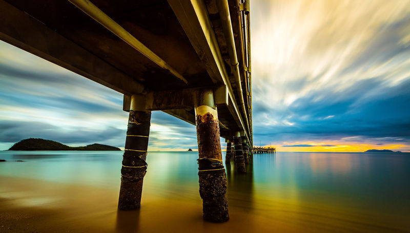 Advertising Architecture Beauty In Nature Below Bridge - Man Made Structure Built Structure Cloud - Sky Connection Landscape Landscape_Collection Landscape_photography Landscapes Nature No People Ocean Outdoors Palmcove Pier Scenics Sky Sunrise Sunset The Great Outdoors - 2017 EyeEm Awards Underneath Water Summer Exploratorium
