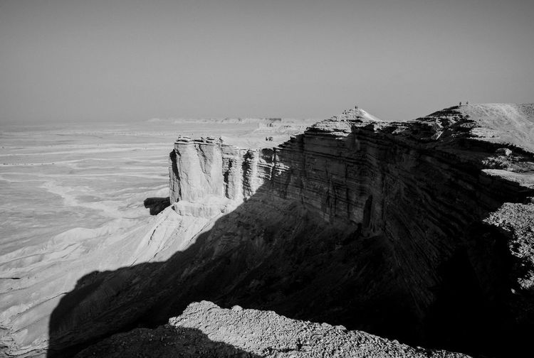 Beauty In Nature Black & White Blackandwhite Day Edge Of The World Extreme Terrain Geology Landscape Monochrome Nature No People Outdoors Physical Geography Rock - Object Rock Formation Saudi Saudi Arabia Scenics Sky Tranquil Scene Tranquility