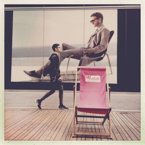 Deckchairs Pink Street Photography Full Length Transfer Print Auto Post Production Filter Real People Young Men Casual Clothing Young Adult The Street Photographer - 2018 EyeEm Awards
