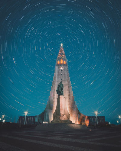 Periphery Night Architecture Long Exposure Motion Space Built Structure Sky Blurred Motion Star Trail Star - Space Nature Illuminated No People Astronomy Building Exterior Religion Travel Destinations Spirituality Building Place Of Worship Iceland Reykjavik
