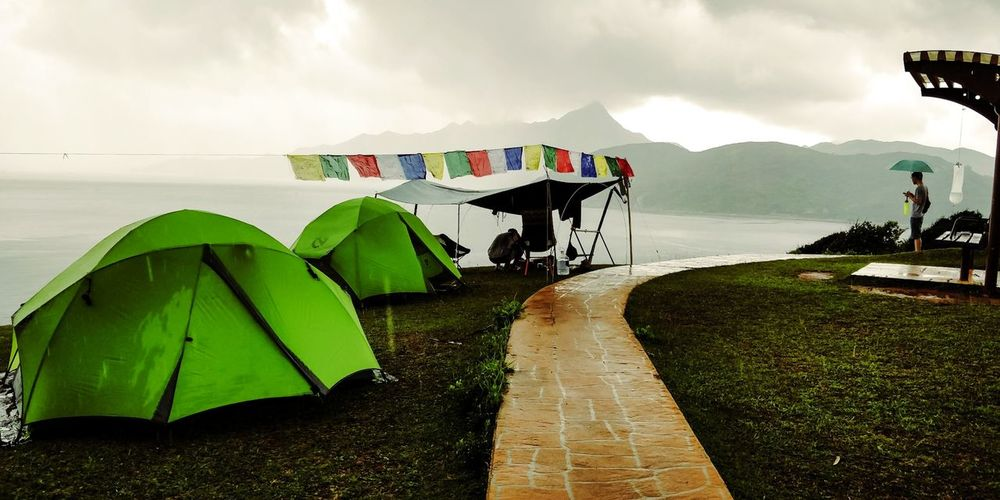 in the rain..... camper Life...... Camping ..... Camping with no music...... Hikingadventures Hiking Gurkhablood Tapmun塔門 Camping #outdooradvanture Water Nautical Vessel Lake Mountain Reflection Harbor Sky Landscape Cloud - Sky
