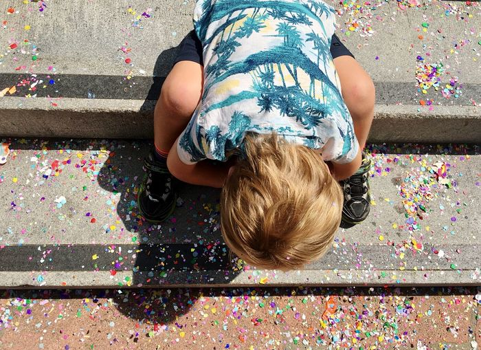 Toddler playing in confetti People Childhood Multi Colored Casual Clothing Sitting Confettii Day Fun High Angle View Domestic Life Leisure Activity Real People Confetti Adult Relaxation Boys Blond Hair Full Length Indoors  Living Room Males  The Week On EyeEm California Dreamin