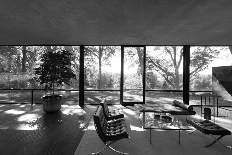 Philip Johnson's Glass House in New Canaan, Connecticut Absence Architecture Chair Day Empty Furniture Glass House Growth Mid Century Architecture Mid Century Modern Modern Architecture Modernist Architecture Nature No People Philip Johnson Seat Table Tranquility