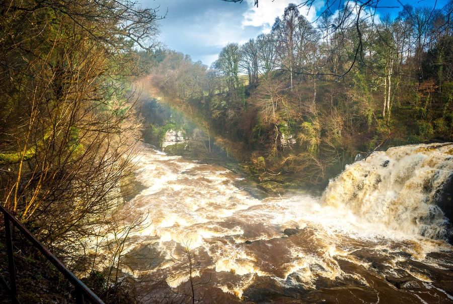 Bonnington Linn Rainbow Eye Em Scotland Water Nature Waterfall New Lanark Falls Of Clyde
