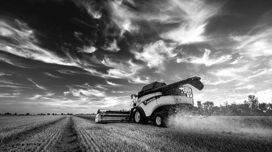 EyeEmNewHere Agricultural Machinery Agriculture Beauty In Nature Cereal Plant Cloud - Sky Combine Harvester Day Farm Field Land Vehicle Landscape Nature No People Outdoors Rural Scene Sky Transportation Wheat